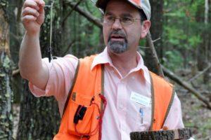 Picture of David Mercker examining a tree